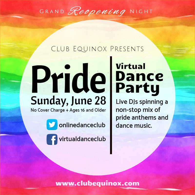 Pride Virtual Dance Party (Sunday, June 28)